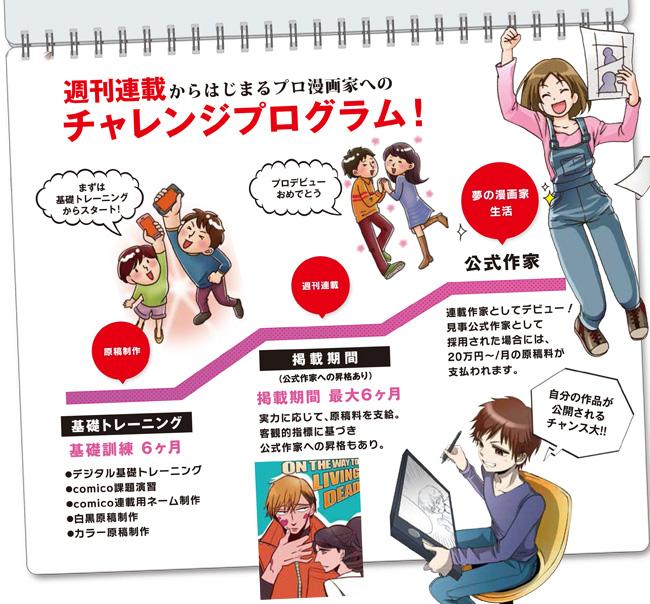週刊連載からはじまるプロ漫画家へのチャレンジプログラム!